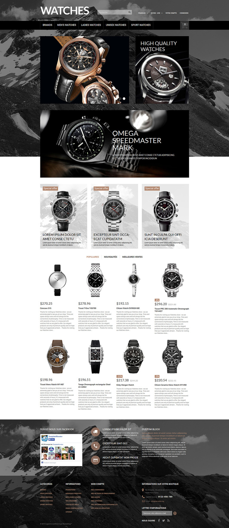 Elegant Timepieces PrestaShop Theme New Screenshots BIG