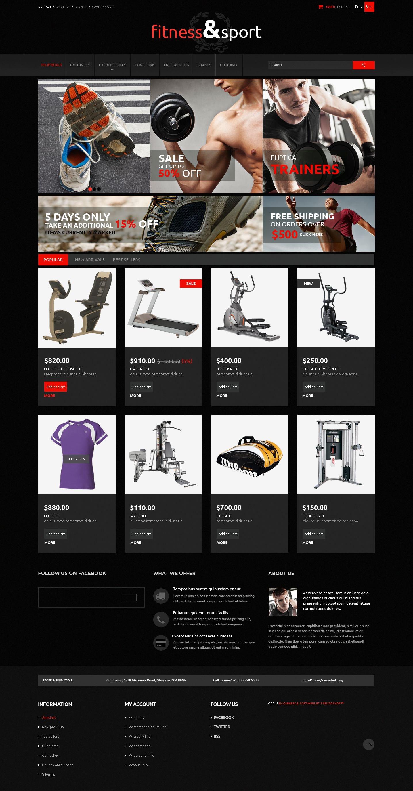 Exercise  Fitness Gear PrestaShop Theme - screenshot