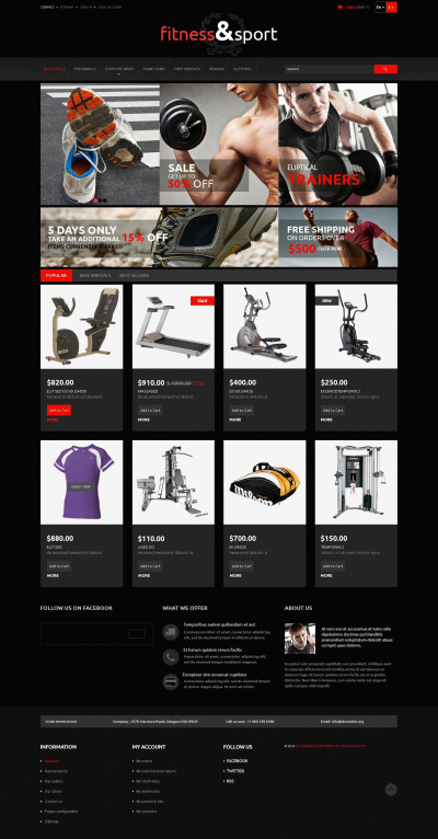 Exercise Fitness Gear PrestaShop Theme