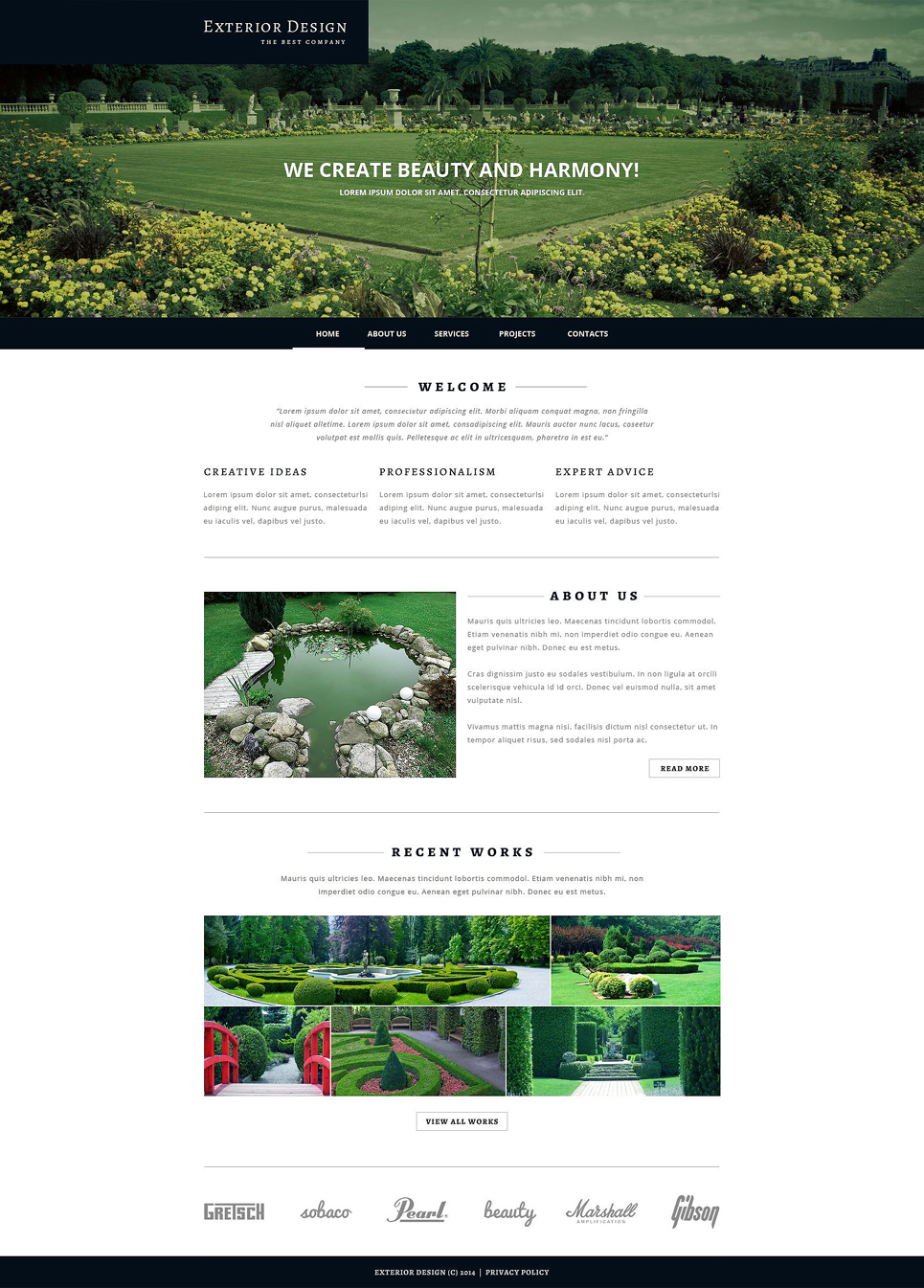 Exterior design responsive website template 51826 for Exterior design website templates