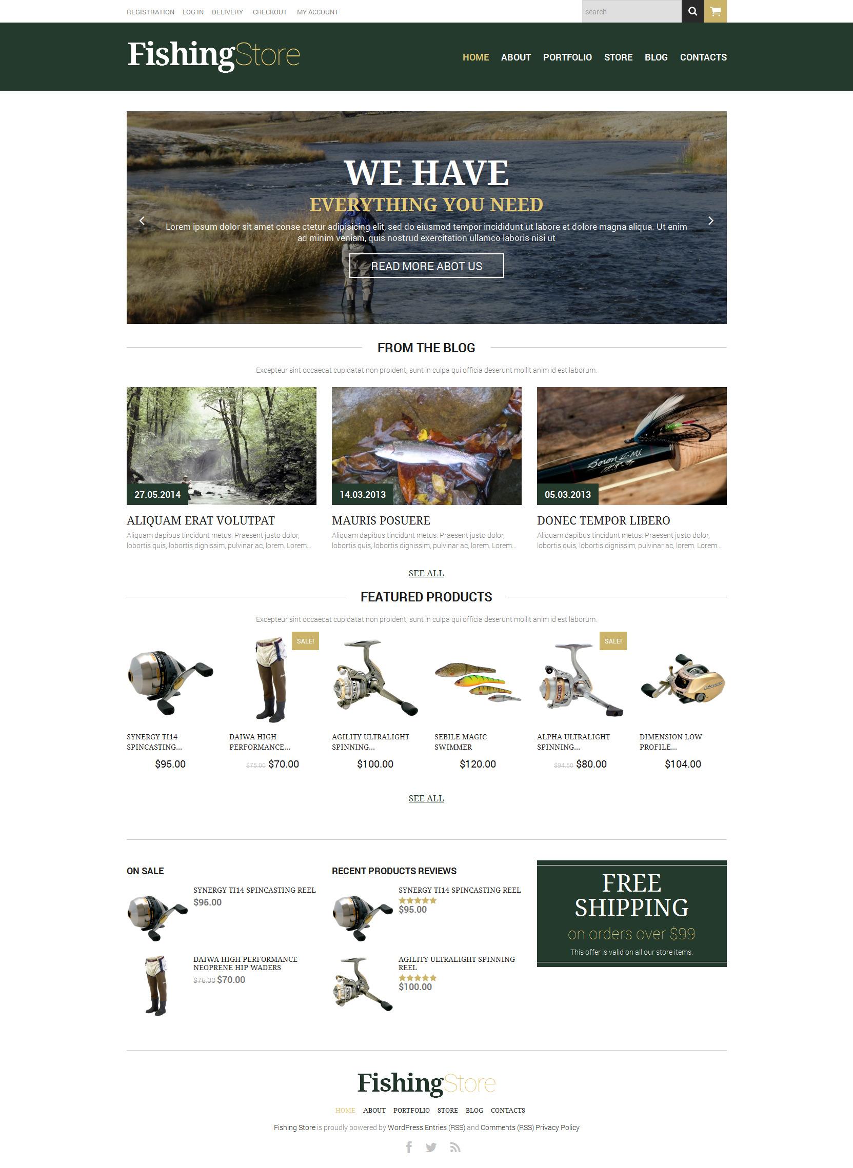 Fishing Responsive WooCommerce Theme - screenshot