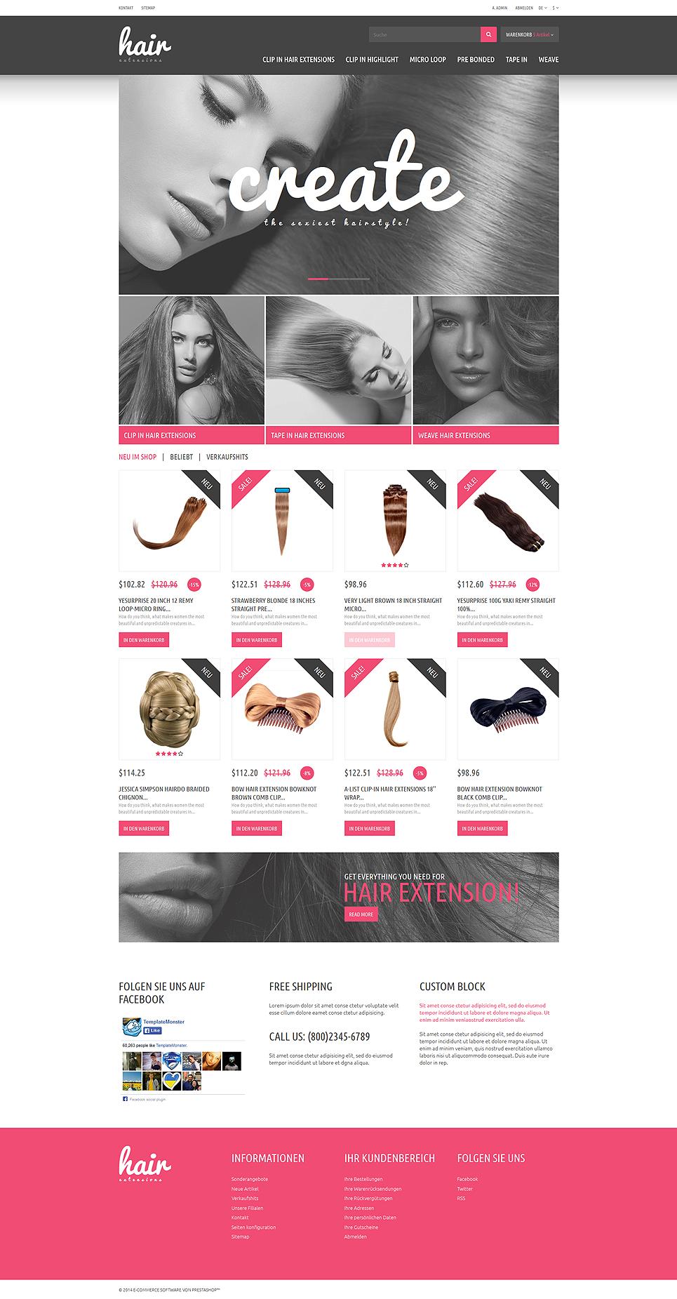 Hair Extensions Store PrestaShop Theme #51837
