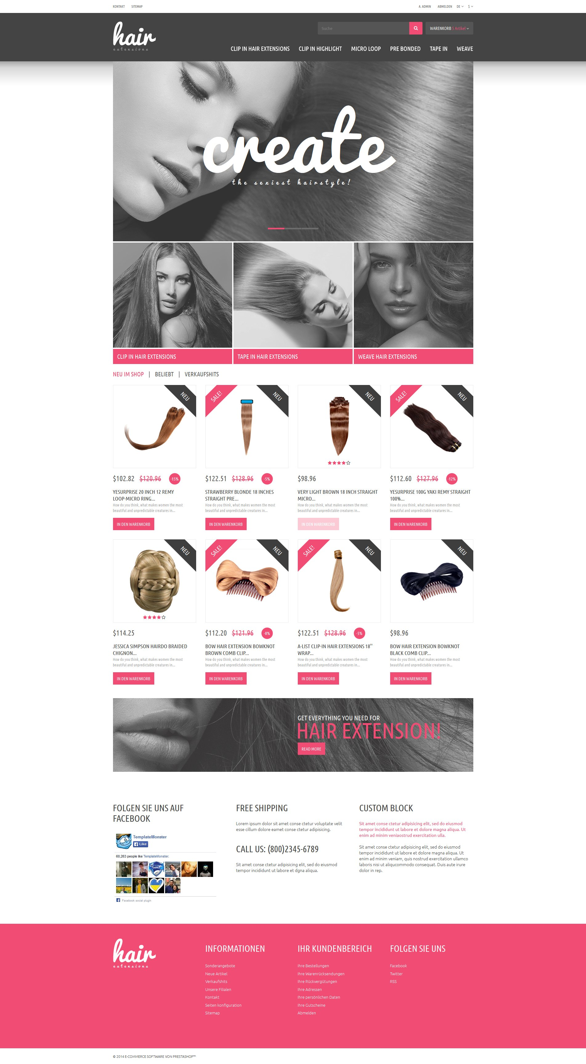 Hair Extensions Store PrestaShop Theme