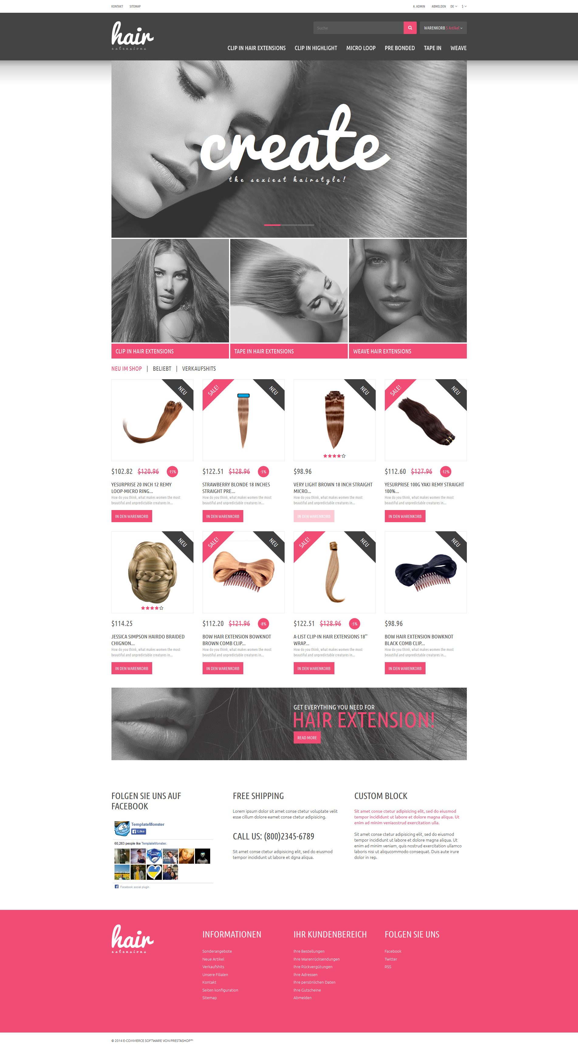 Hair Extensions Store PrestaShop Theme - screenshot