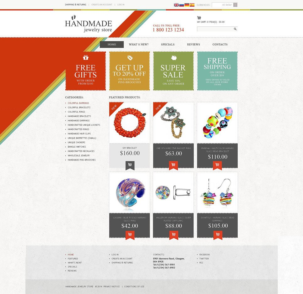 Handmade Jewelry Store OsCommerce Template New Screenshots BIG