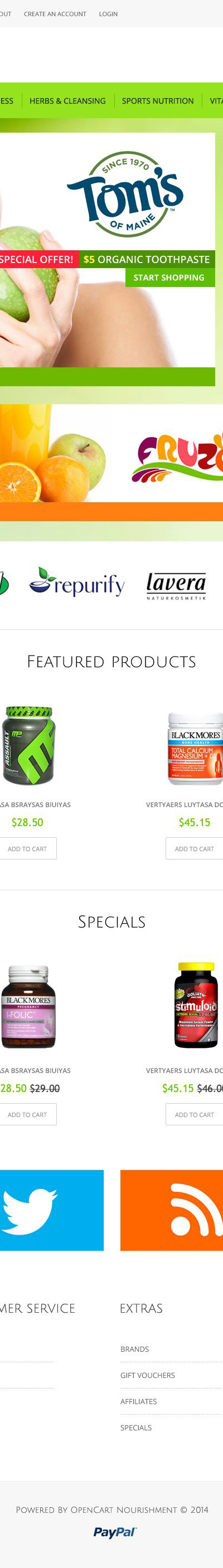 Health Sport Nutrition OpenCart Template