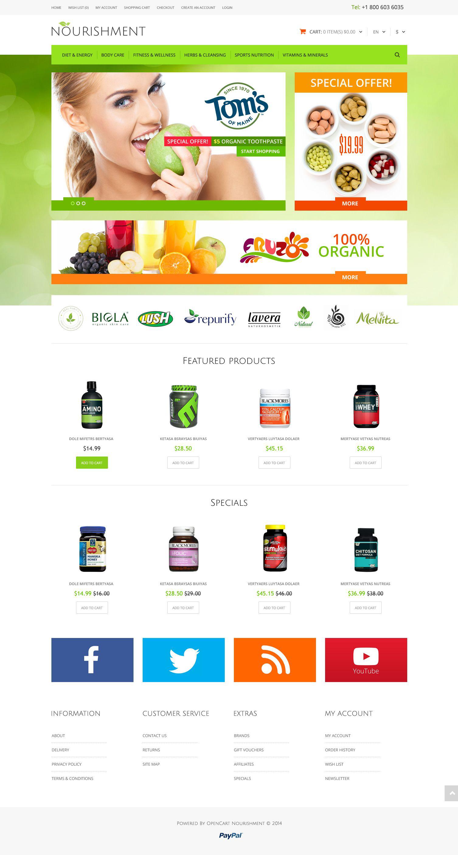 """Health  Sport Nutrition"" 响应式OpenCart模板 #51808 - 截图"