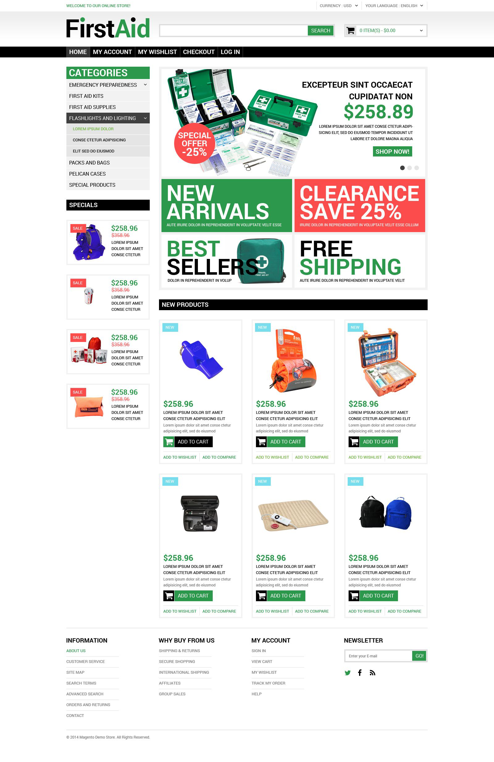 Healthcare Supplies Magento Theme - screenshot