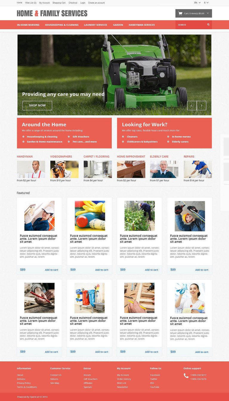 Home Family Services OpenCart Template New Screenshots BIG