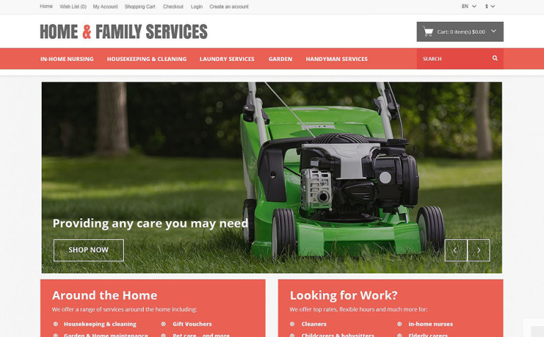 Home Family Services OpenCart Template