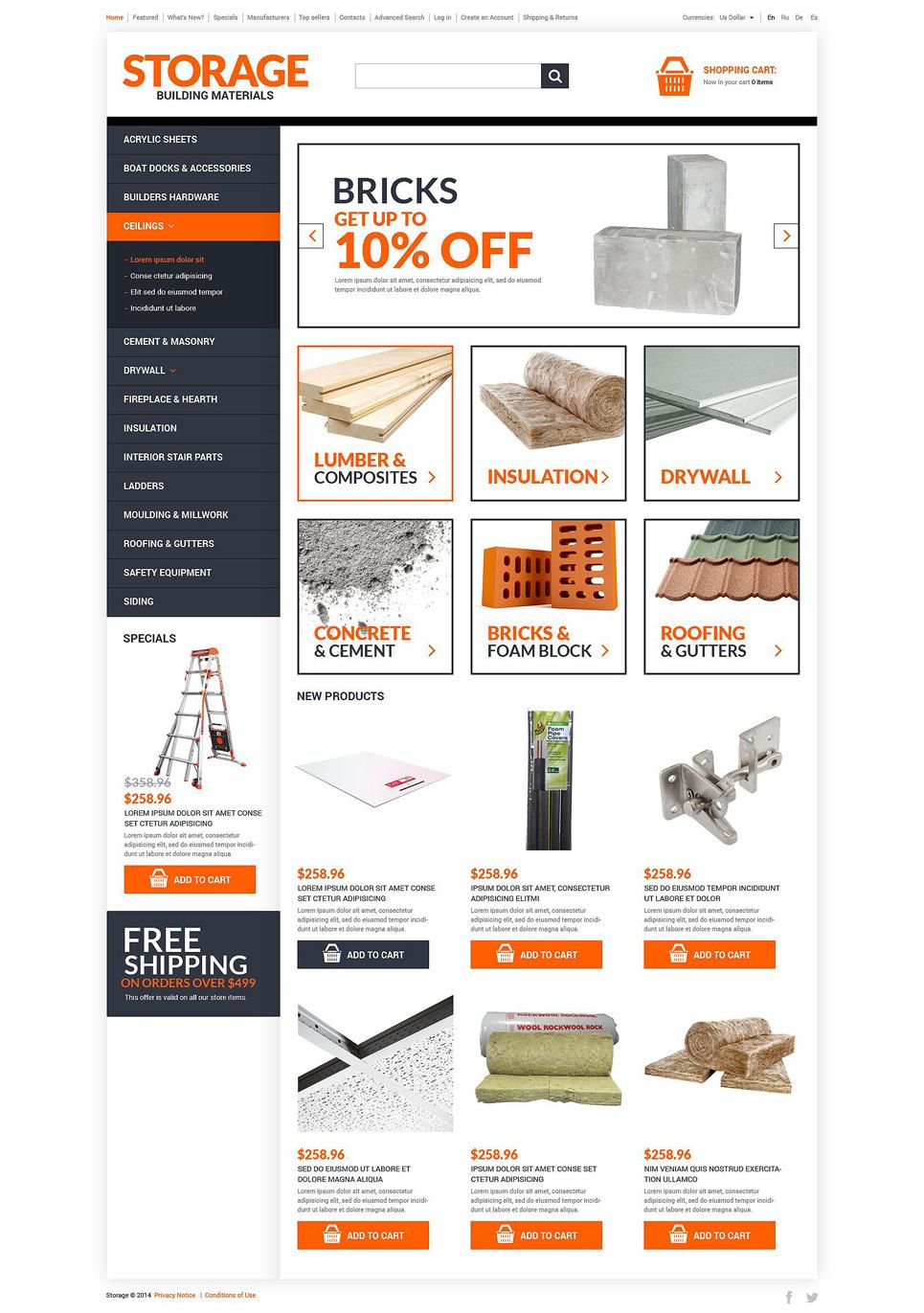Home Renovation Materials OsCommerce Template New Screenshots BIG