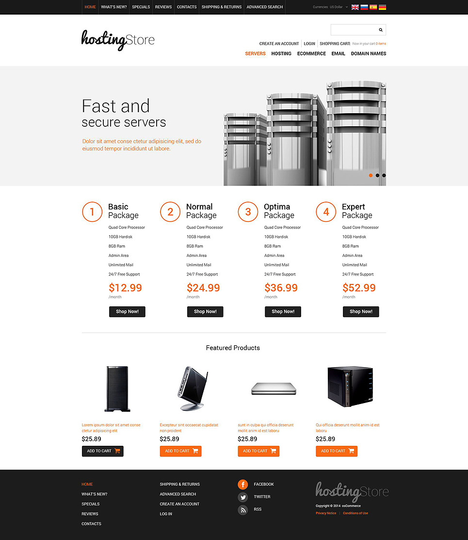 Hosting OsCommerce Template New Screenshots BIG
