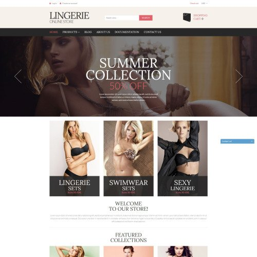Lingerie Online Store - Shopify Template based on Bootstrap