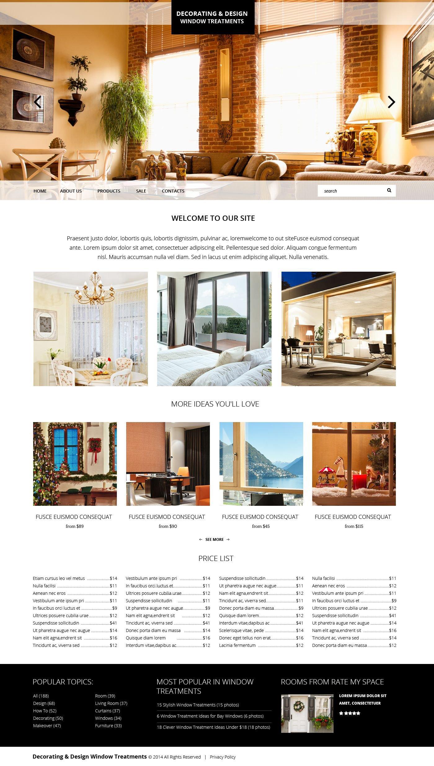 Modèle Web adaptatif pour site de décoration de la maison #51857