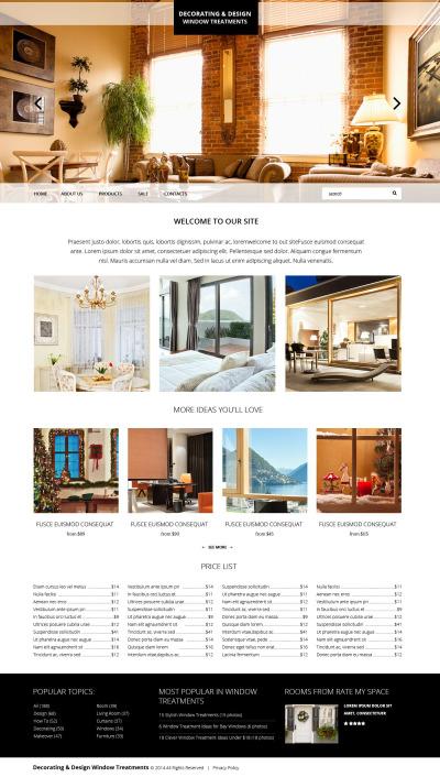 Modèle Web adaptatif  pour site de décoration de la maison