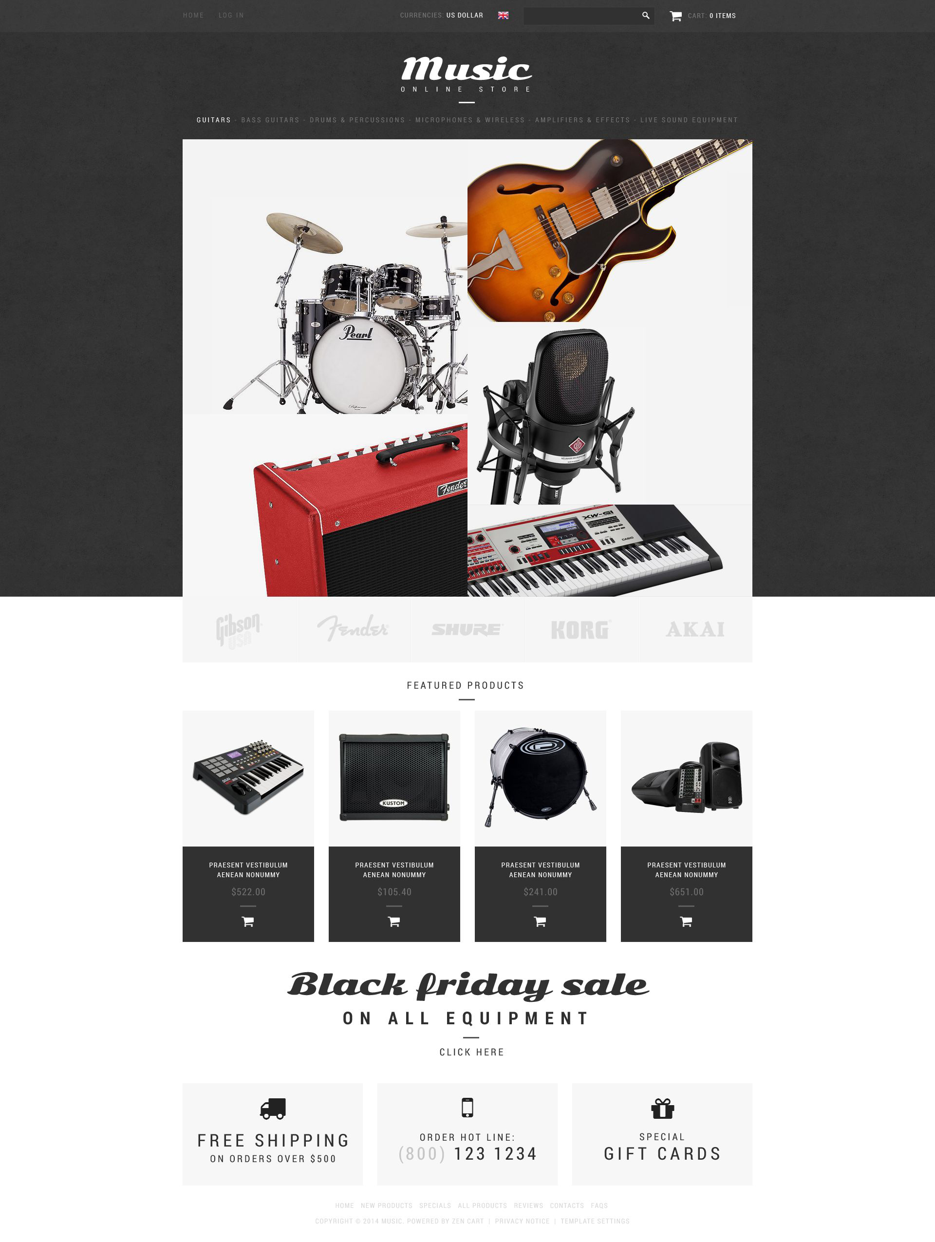 """Music Shop"" ZenCart模板 #51880 - 截图"