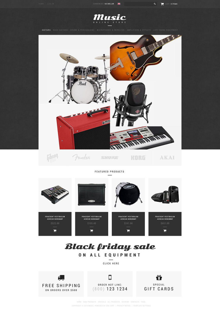 Music Shop ZenCart Template New Screenshots BIG