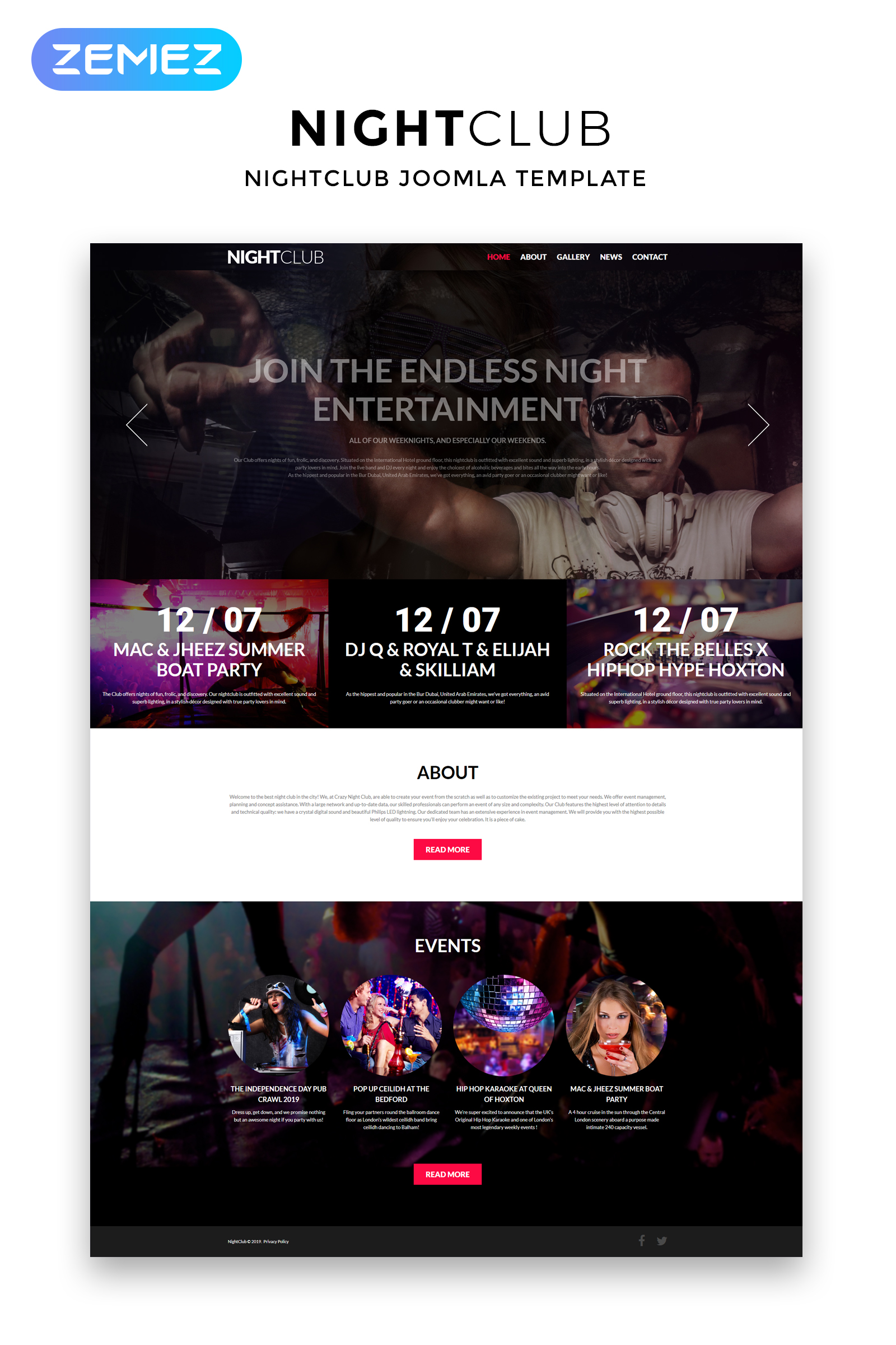 """Night Club - Night Club Clean"" thème Joomla adaptatif #51887"