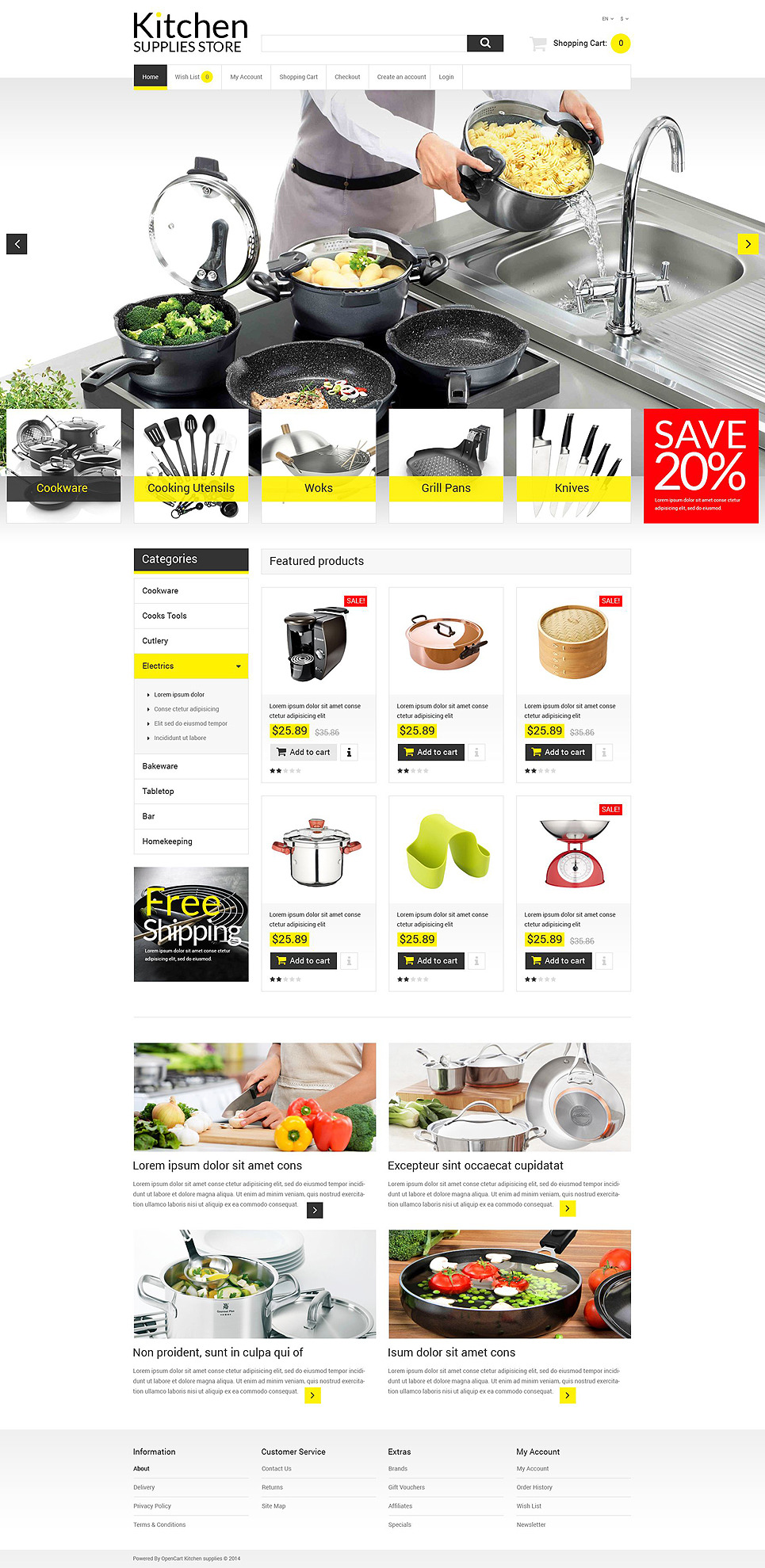 Online Kitchen Warehouse OpenCart Template New Screenshots BIG