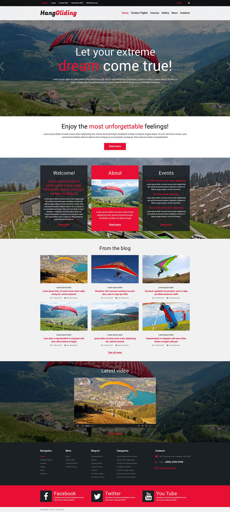 Paragliding Responsive WordPress Theme New Screenshots BIG
