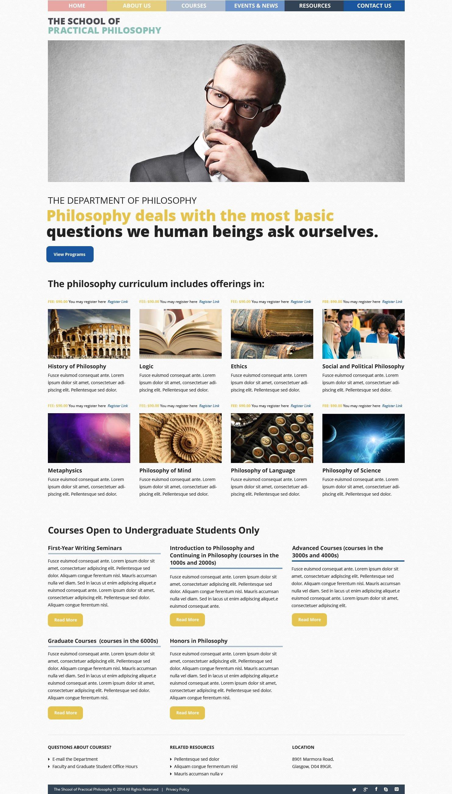 """Philosophy Courses"" 响应式WordPress模板 #51823 - 截图"