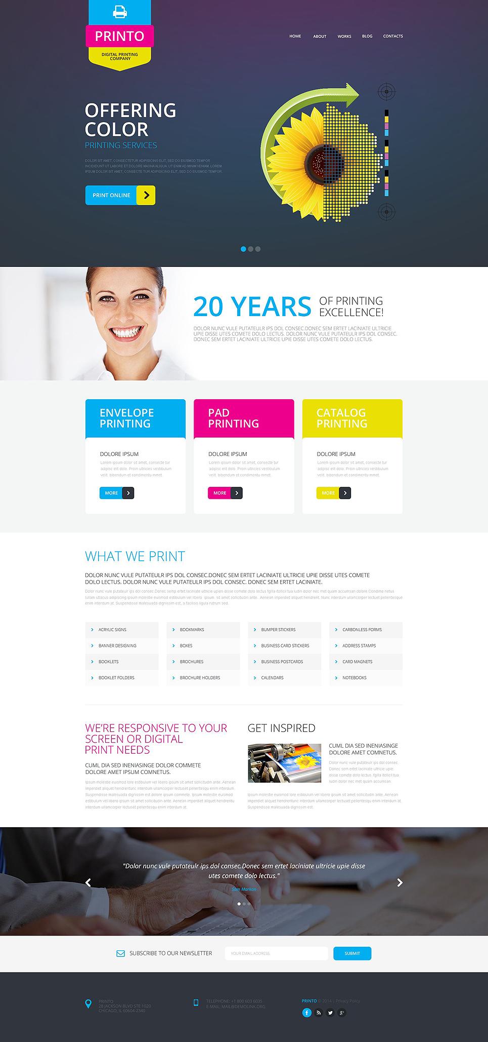 print shop responsive website template 51805. Black Bedroom Furniture Sets. Home Design Ideas