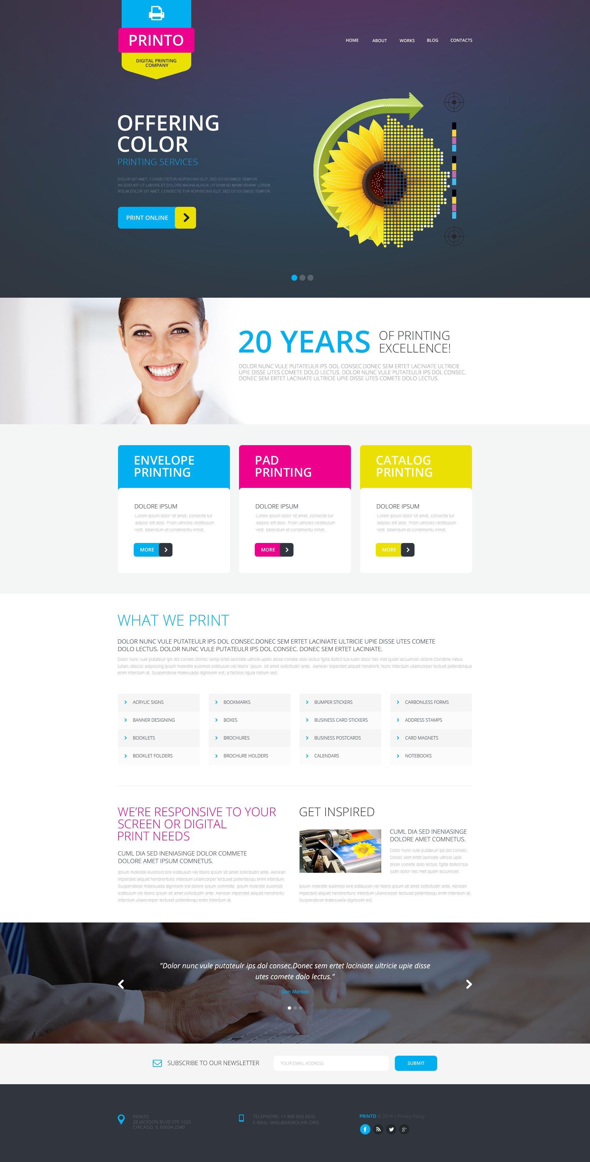 Responsive Website template over Drukkerij №51805 - screenshot