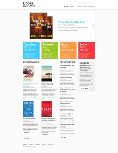 Responsive Website Vorlage für Buchrezensionen