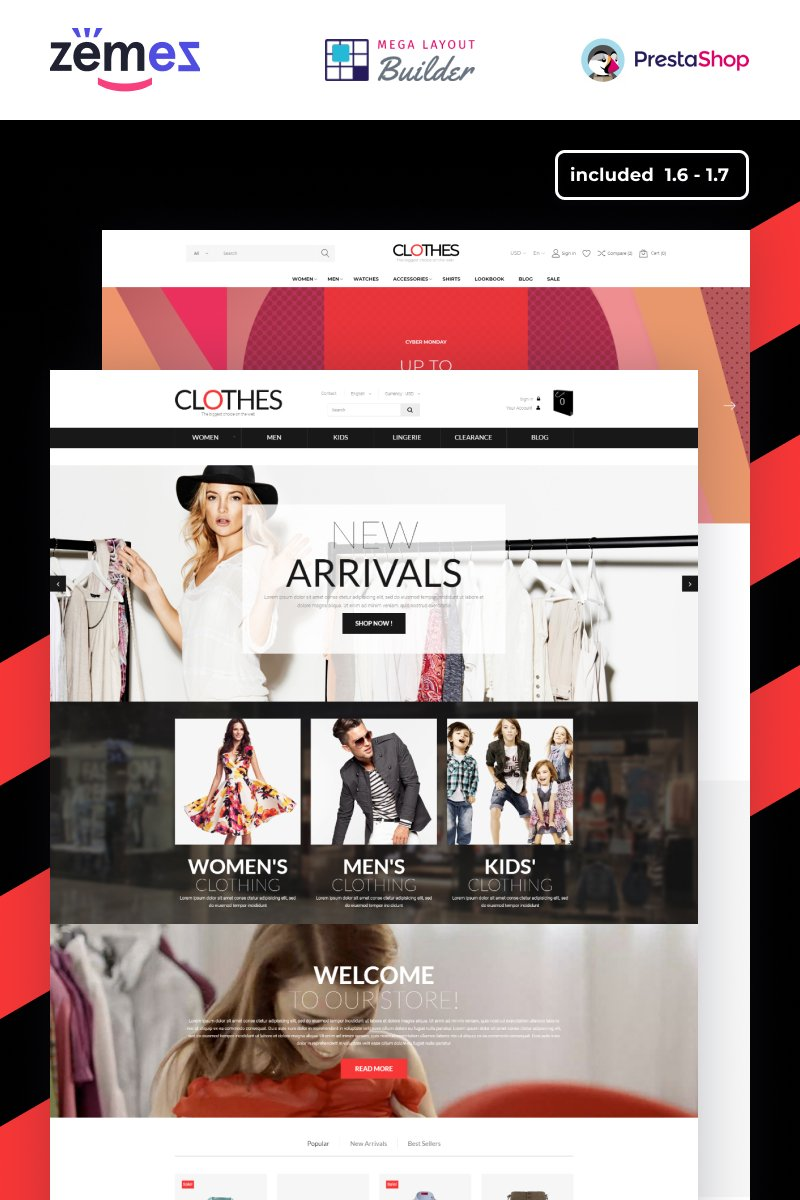 Responsivt Clothes - Apparel Brand Online Template PrestaShop-tema #51868