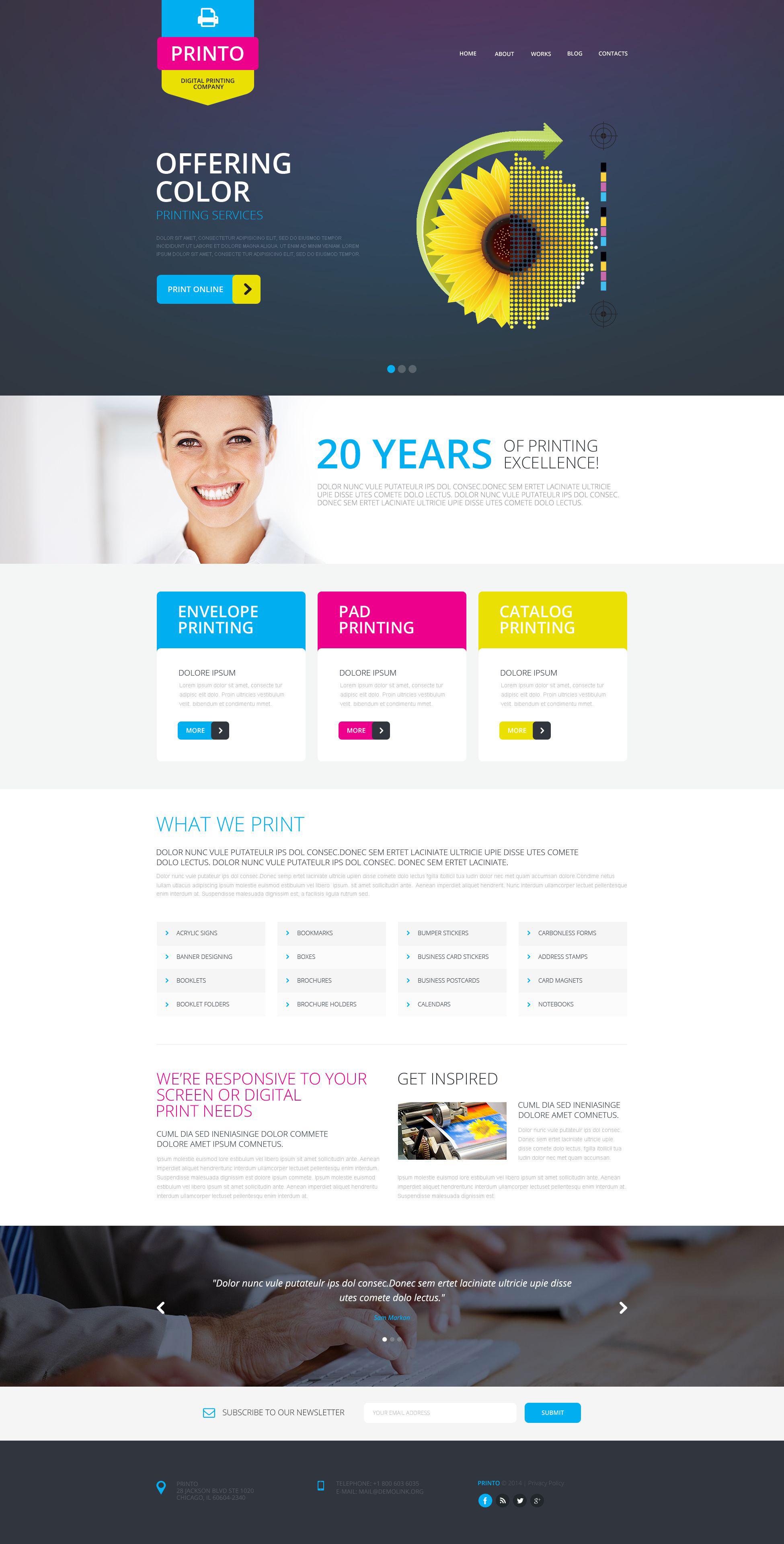 Responsywny szablon strony www #51805 na temat: drukarnia - zrzut ekranu