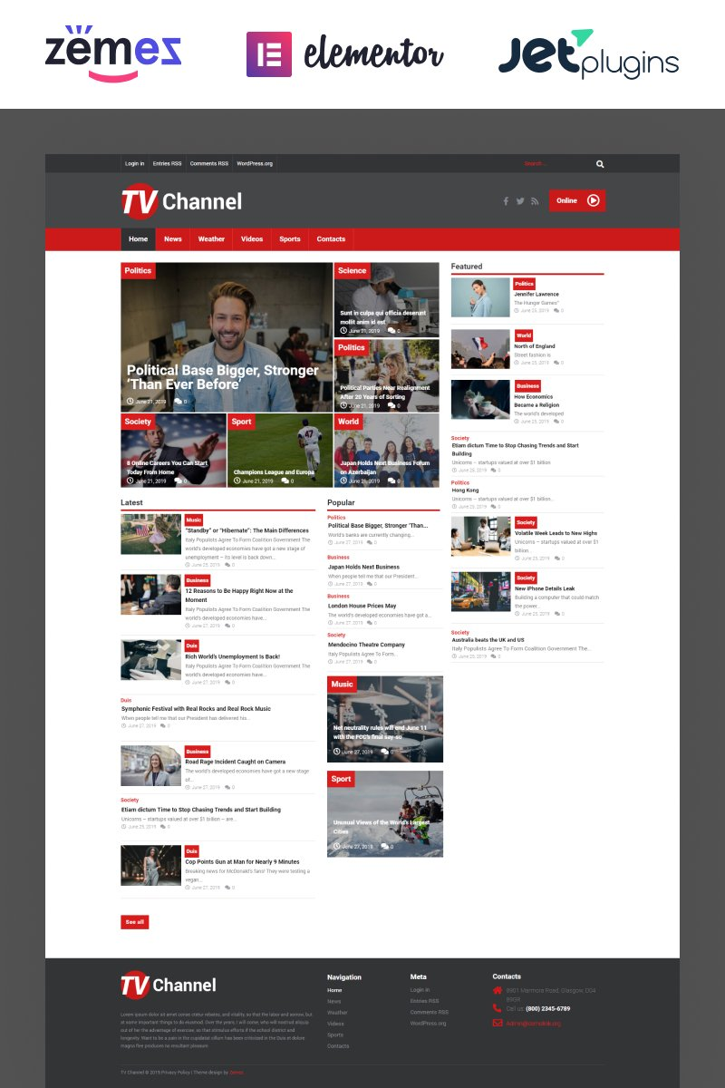 "Responzivní WordPress motiv ""TVChannel - News Portal Modern Elementor"" #51867"