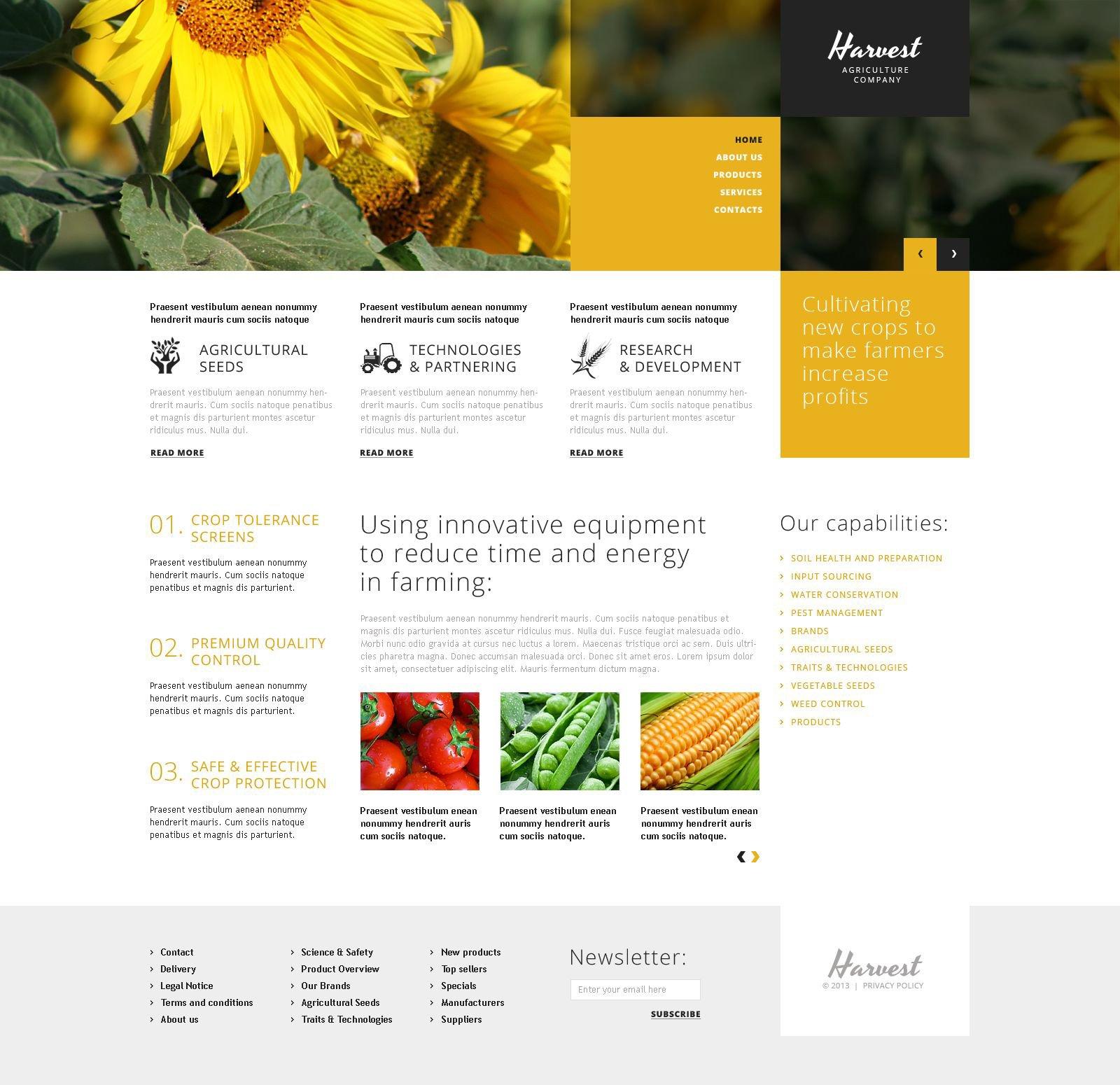 Reszponzív Agriculture Company WordPress sablon 51881
