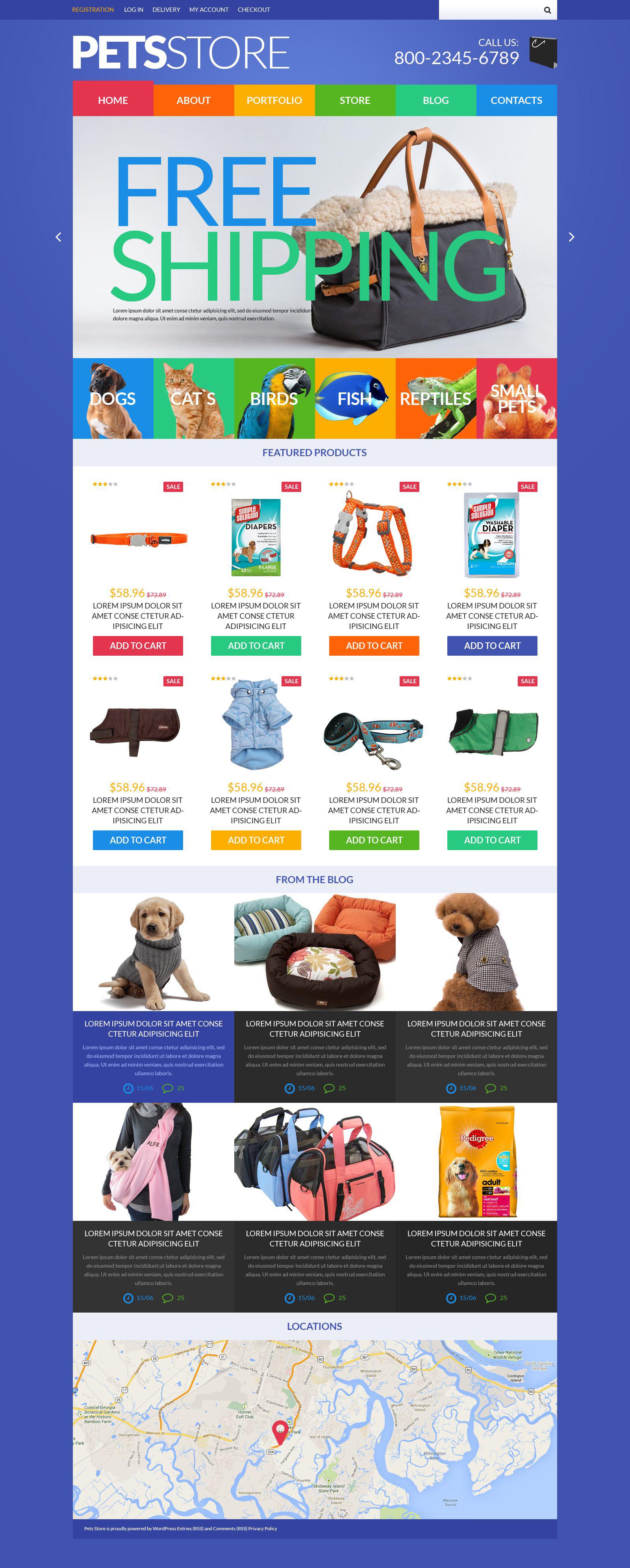 Reszponzív Pets Store WooCommerce sablon 51843