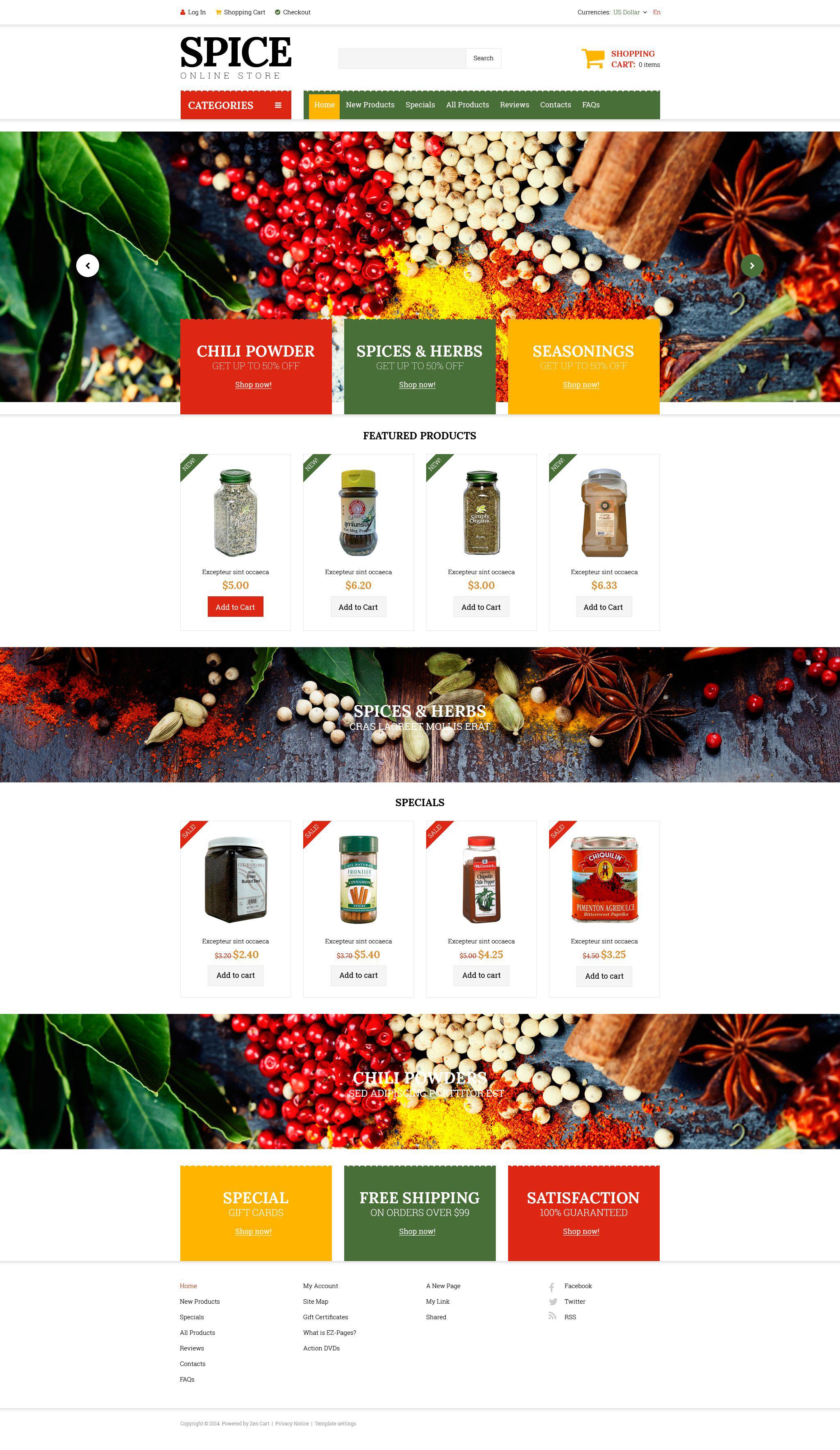 """Spice Shop"" - ZenCart шаблон №51820"