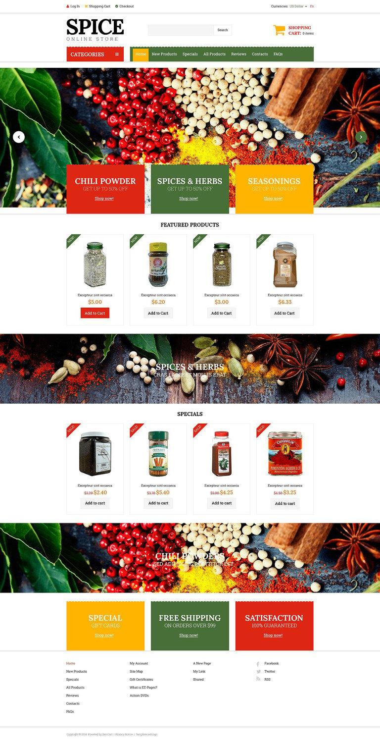 Spice Shop ZenCart Template New Screenshots BIG