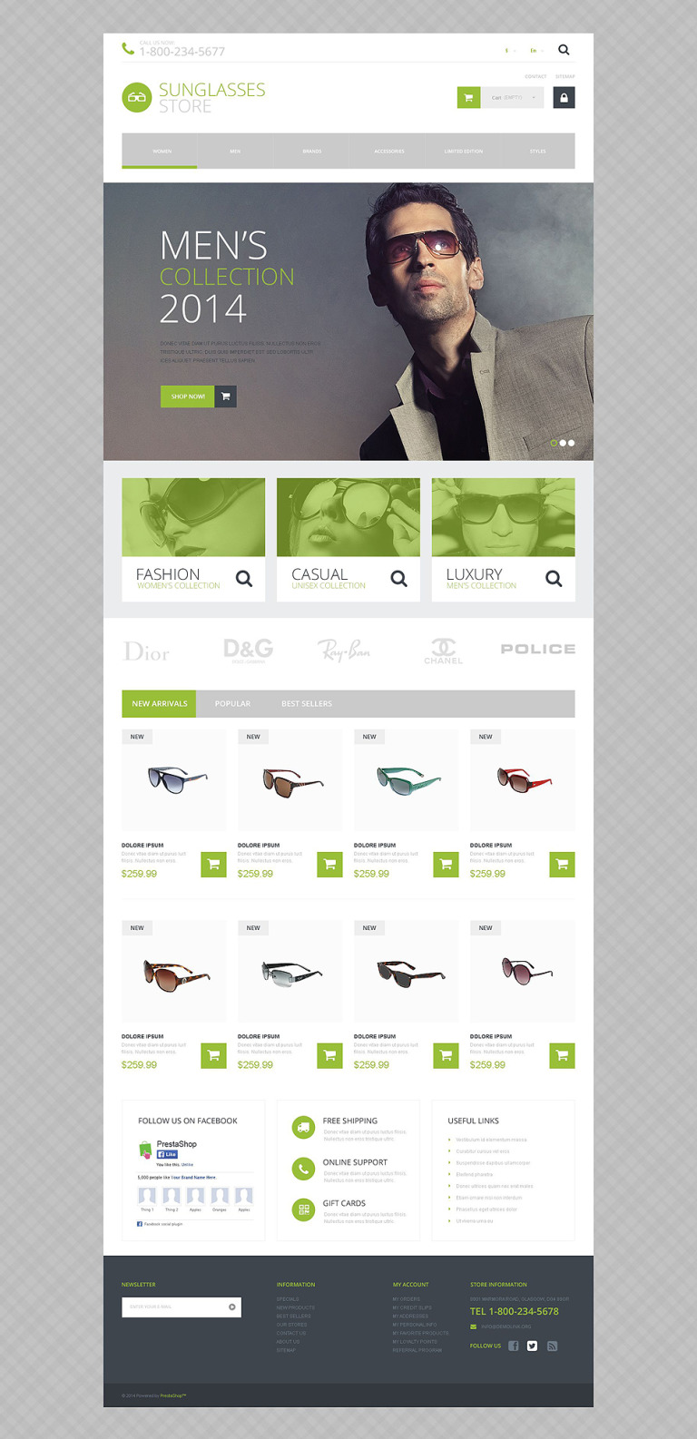 Sunglasses Shop PrestaShop Theme New Screenshots BIG