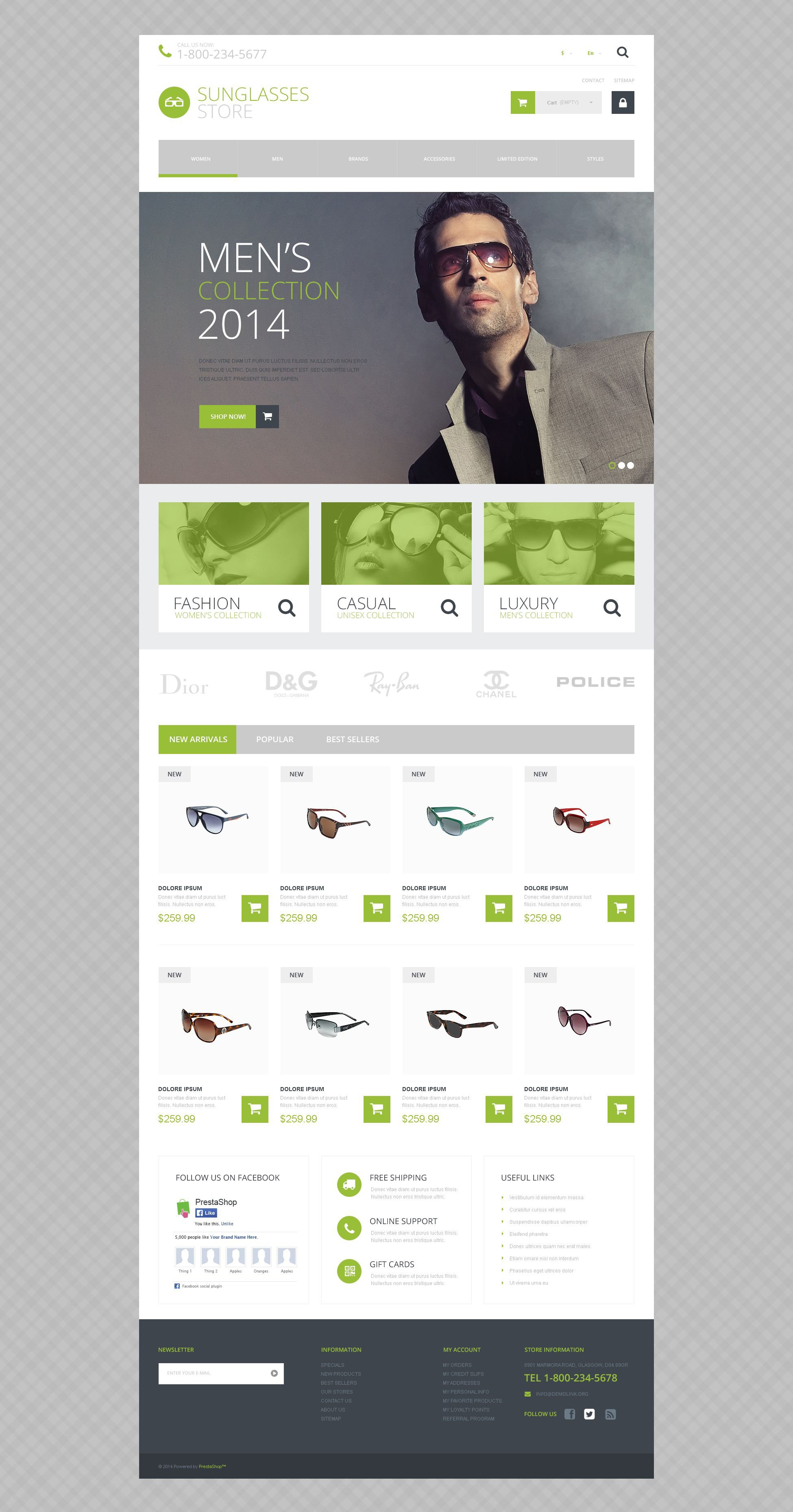 Sunglasses Shop PrestaShop Theme - screenshot