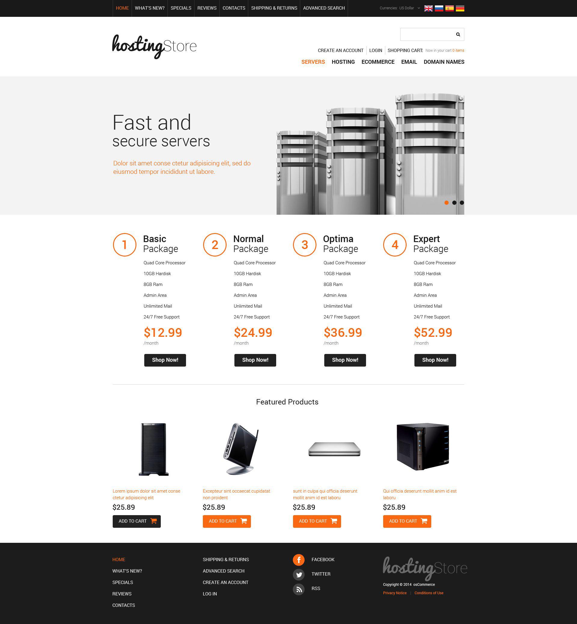 Szablon OsCommerce #51812 na temat: hosting - zrzut ekranu