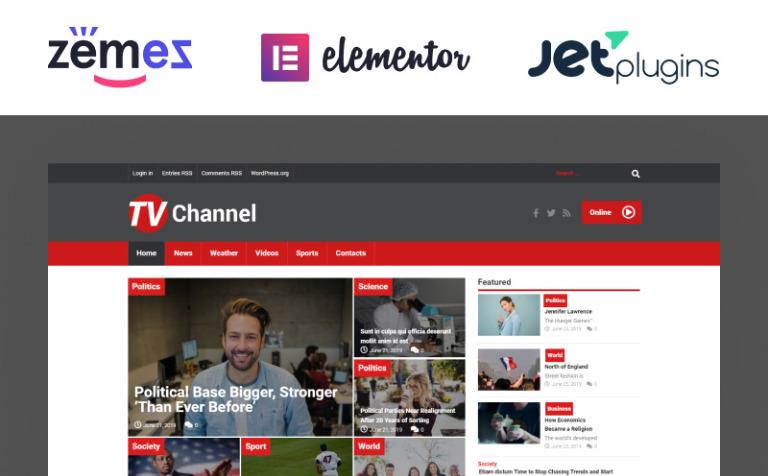 Tema de WordPress #51867 para Sitio de Canales de televisión