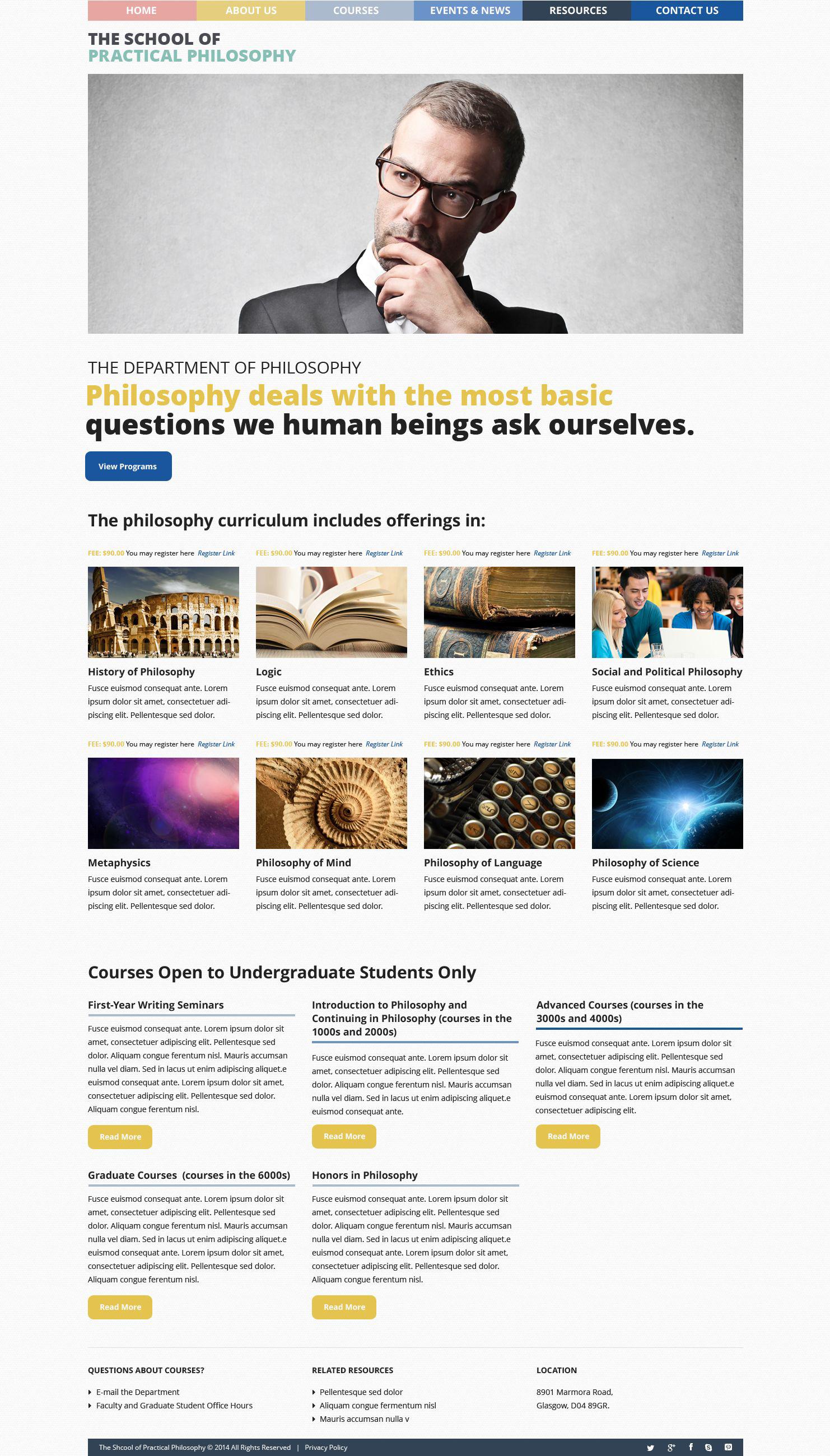 "Tema De WordPress ""Philosophy Courses"" #51823 - captura de pantalla"