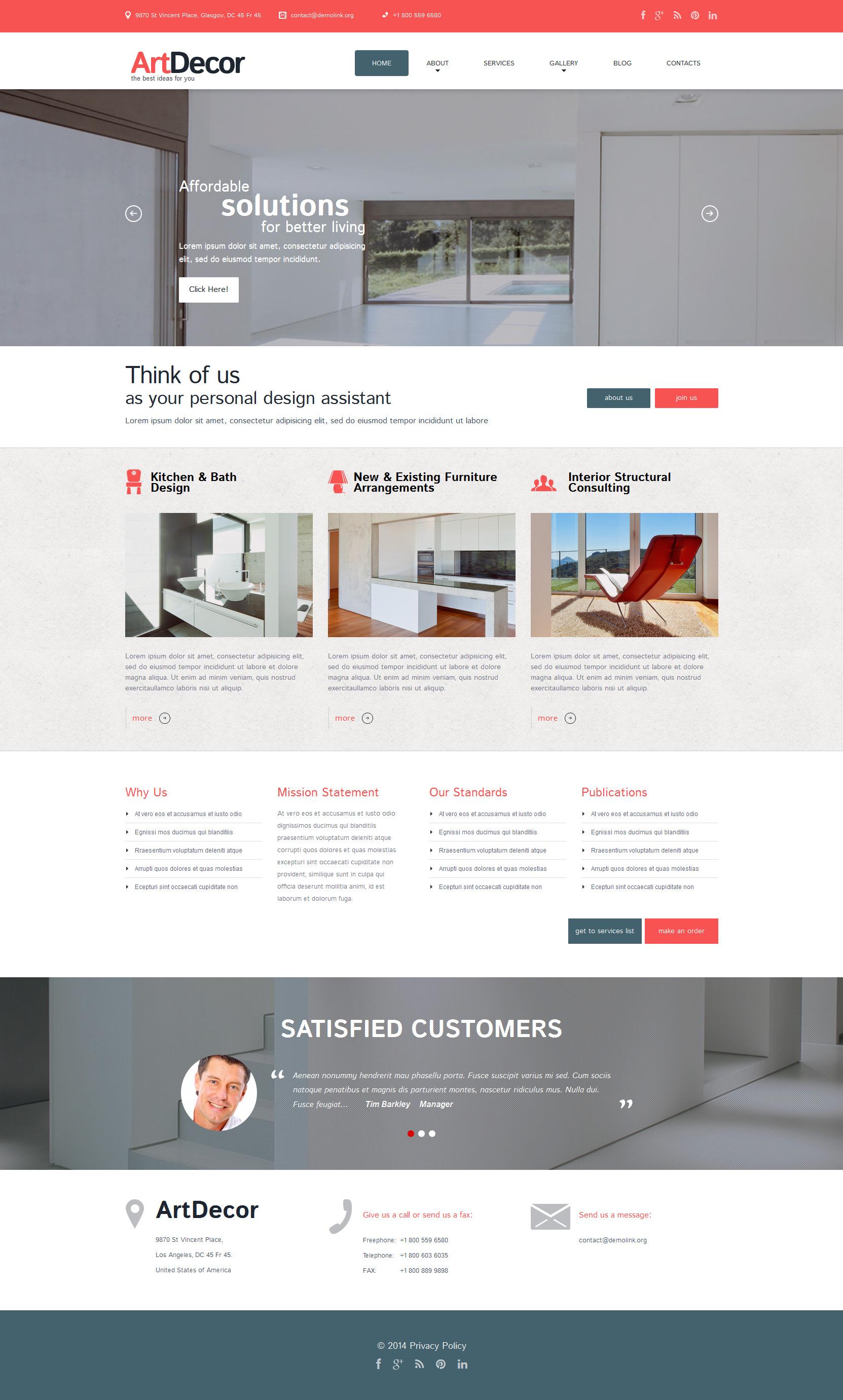 Thème WordPress adaptatif pour site de design intérieur #51816