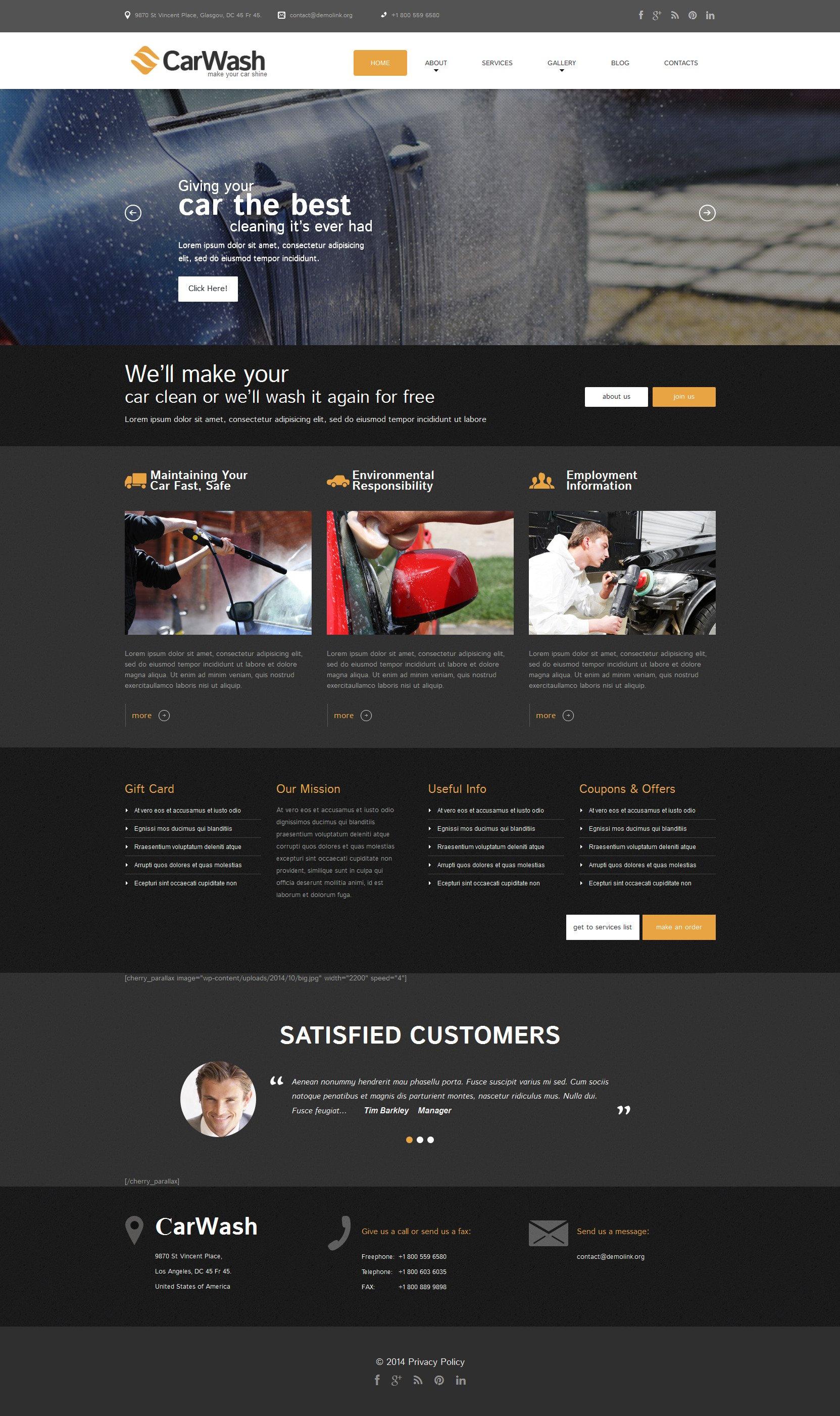Thème WordPress adaptatif pour sites de lavage de voitures #51818