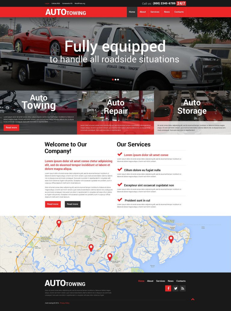 Towing Company WordPress Theme New Screenshots BIG