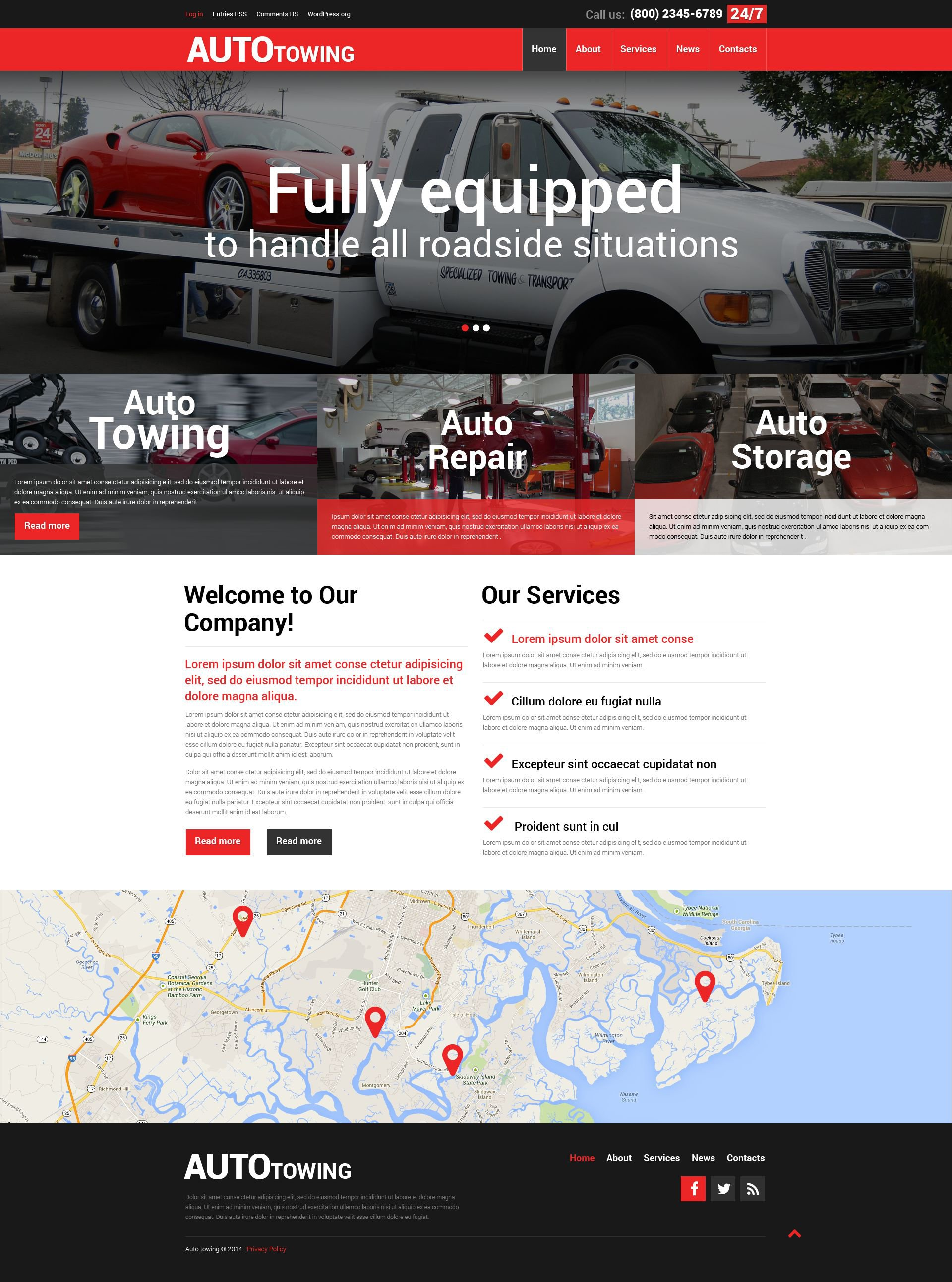 Towing Company WordPress Theme - screenshot