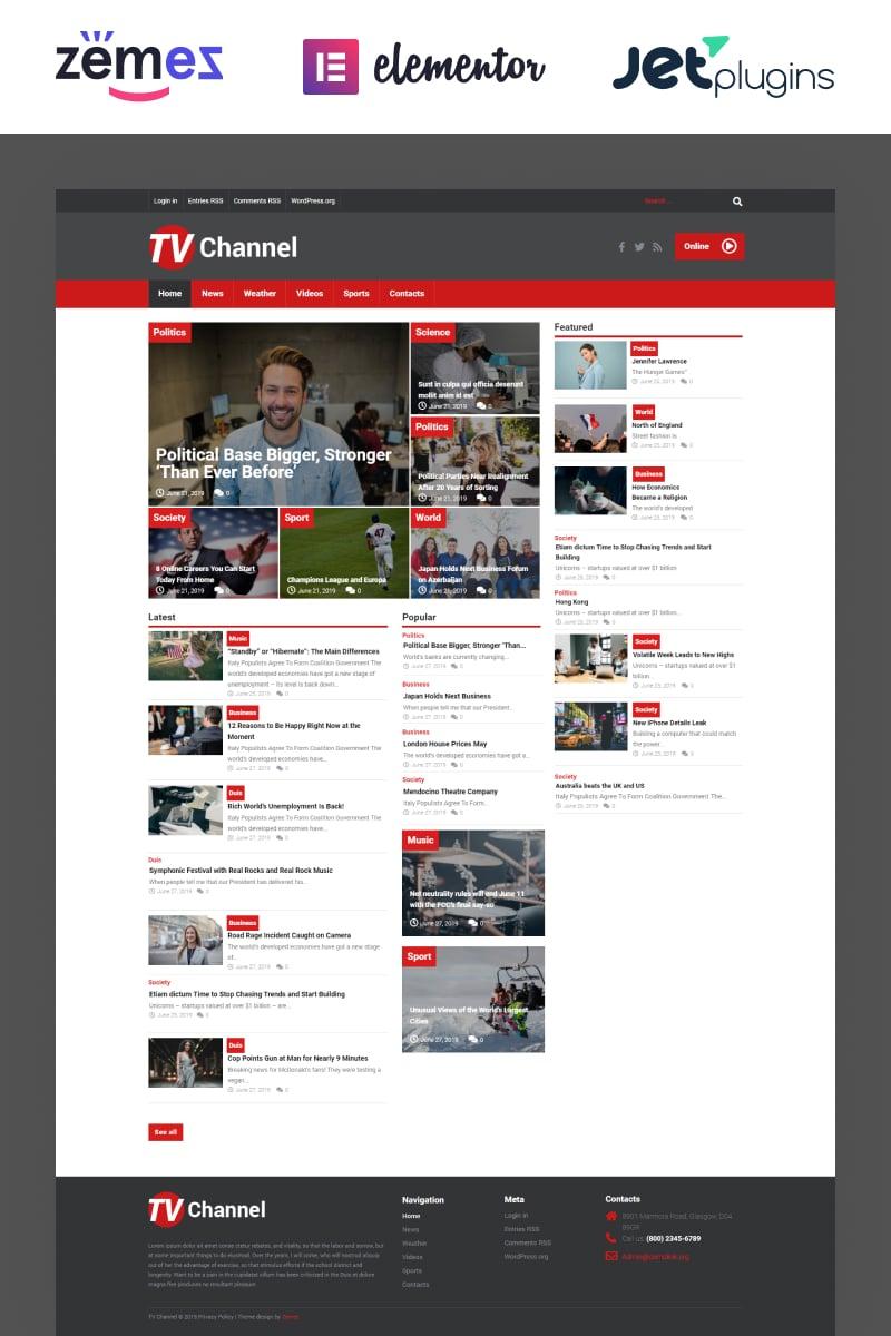 """TVChannel - News Portal Modern Elementor"" Responsive WordPress thema №51867"