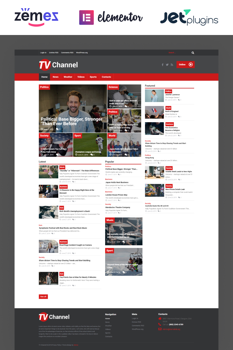 """TVChannel - News Portal Modern Elementor"" thème WordPress adaptatif #51867"