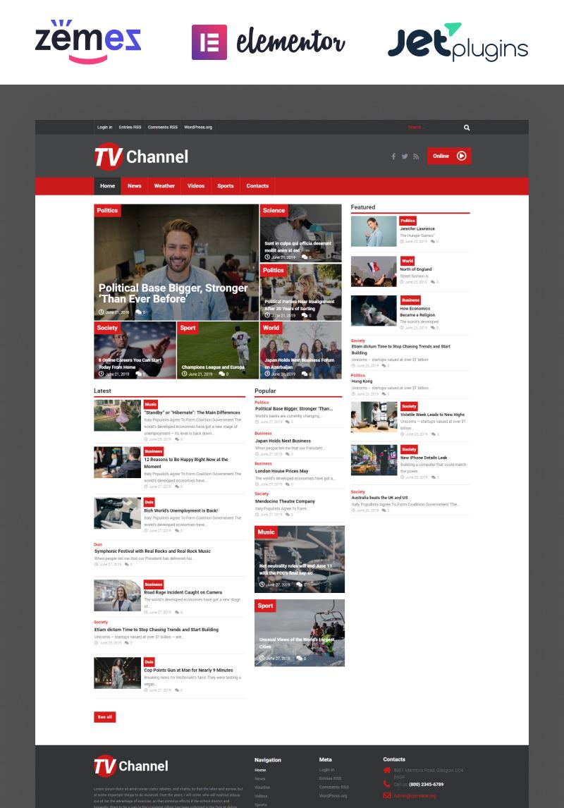 TVChannel - News Portal Modern Elementor WordPress Theme