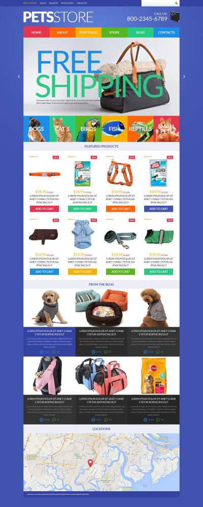 Адаптивный WooCommerce шаблон №51843 на тему зоомагазин
