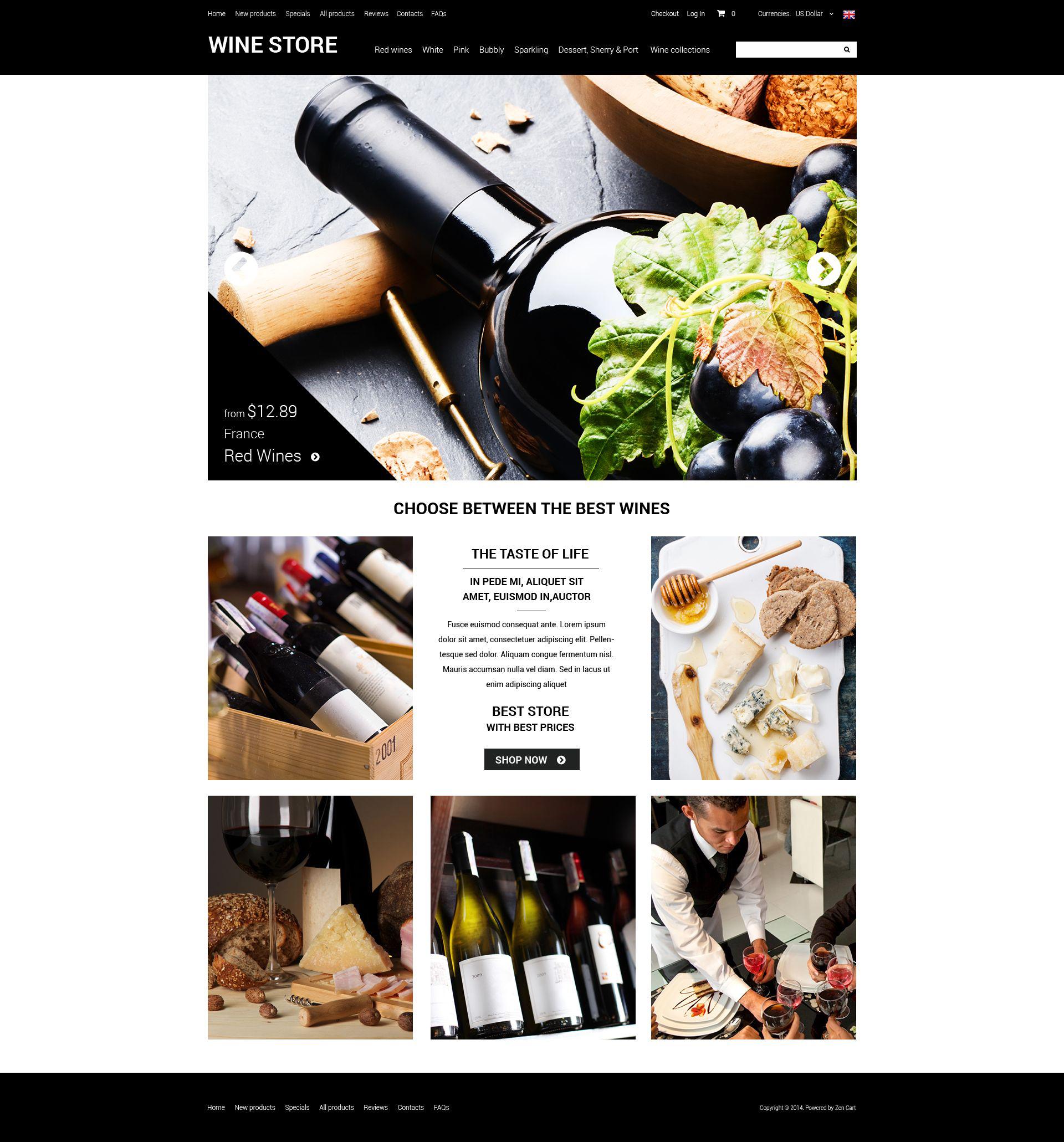"""ZenCart Vorlage namens """"Raffinierter Wein"""" #51865"""