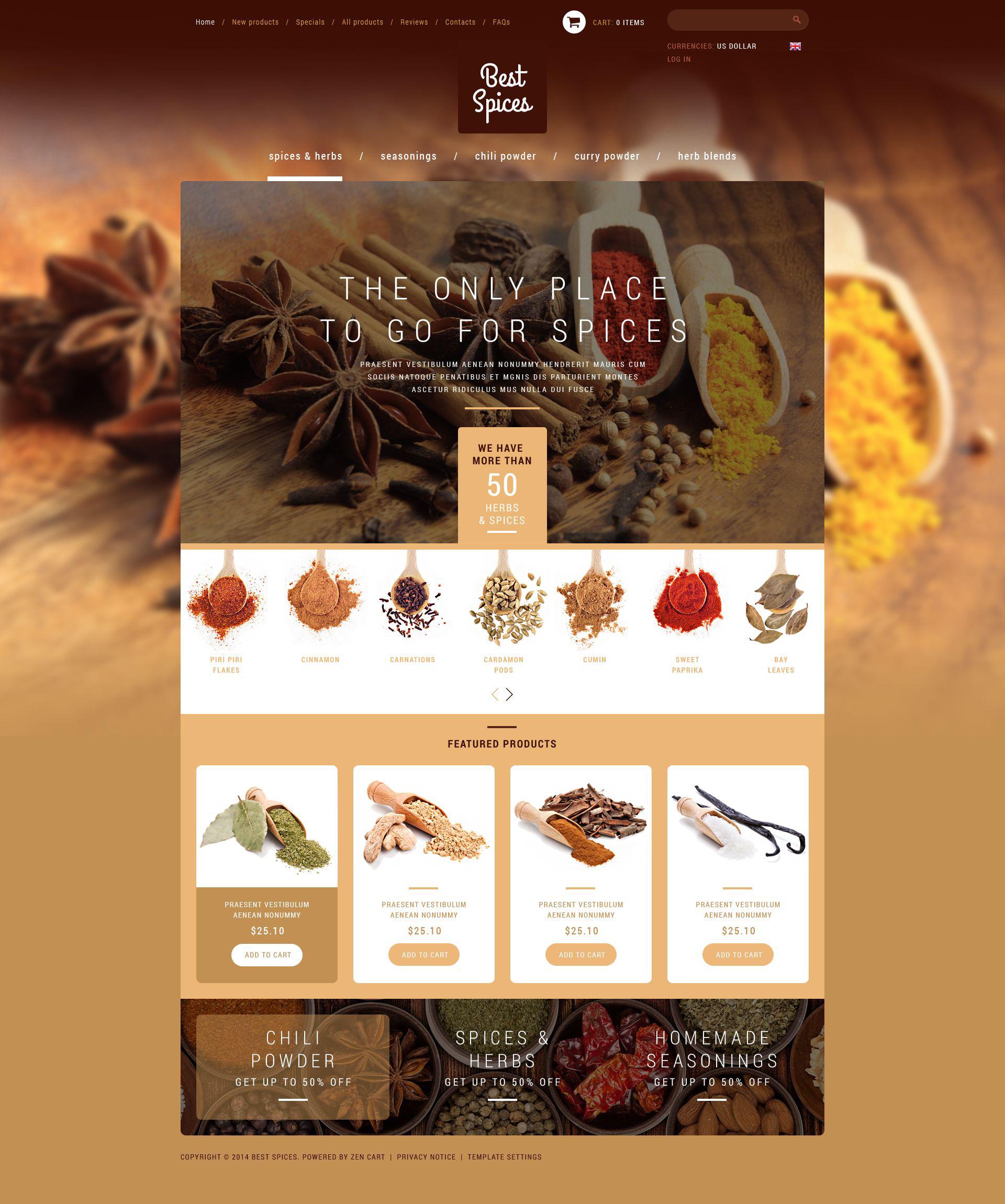 """ZenCart Vorlage namens """"Refined Spices  Herbs"""" #51821"""
